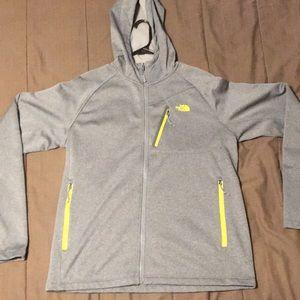 Men's Northface zip up hoodie, L, gray/yellow